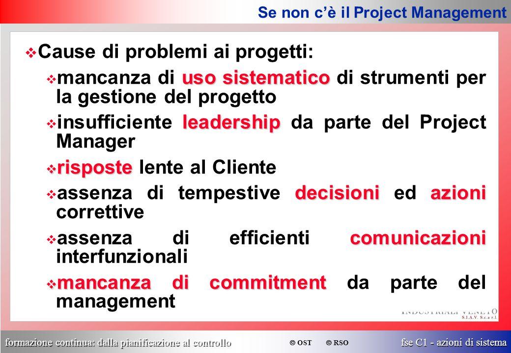 formazione continua: dalla pianificazione al controllo fse C1 - azioni di sistema  OST  RSO v Cause di problemi ai progetti: uso sistematico v manca