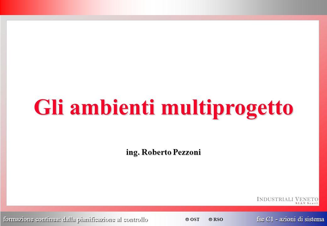 formazione continua: dalla pianificazione al controllo fse C1 - azioni di sistema  OST  RSO Gli ambienti multiprogetto ing. Roberto Pezzoni