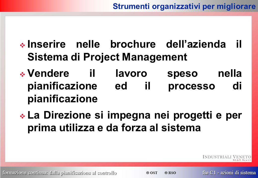 formazione continua: dalla pianificazione al controllo fse C1 - azioni di sistema  OST  RSO v Inserire nelle brochure dell'azienda il Sistema di Pro