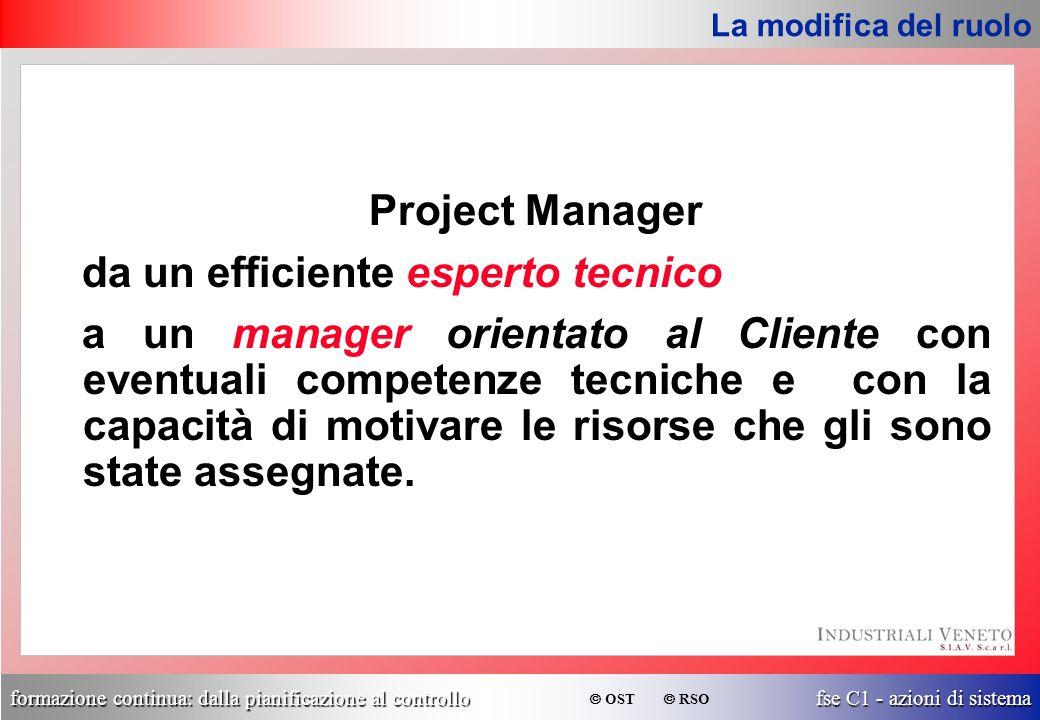 formazione continua: dalla pianificazione al controllo fse C1 - azioni di sistema  OST  RSO Project Manager da un efficiente esperto tecnico a un ma