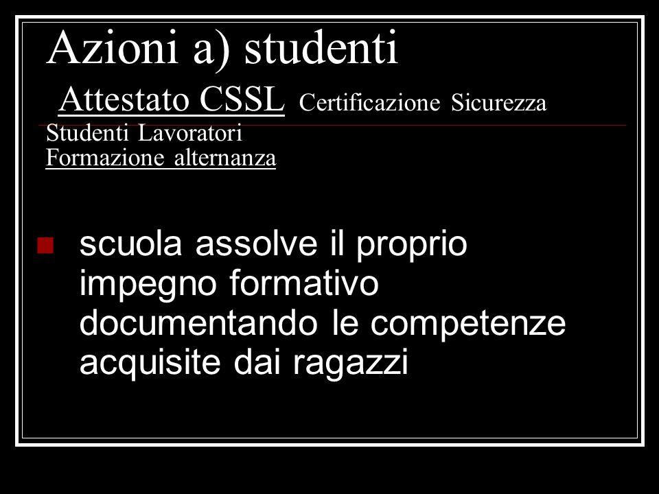 scuola assolve il proprio impegno formativo documentando le competenze acquisite dai ragazzi Azioni a) studenti Attestato CSSL Certificazione Sicurezz