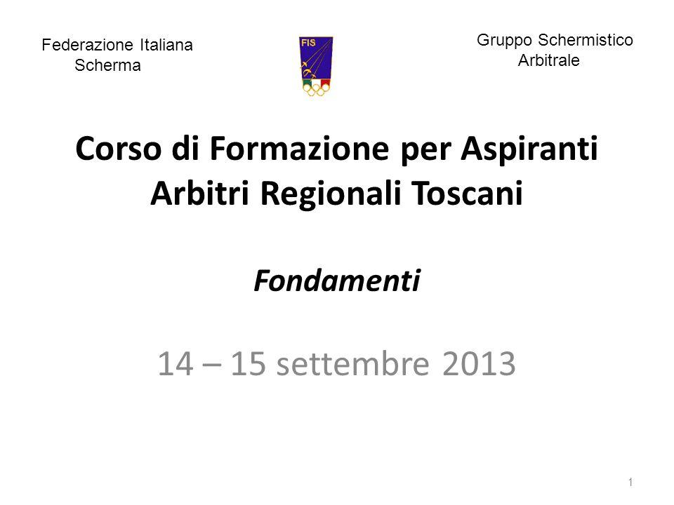 Corso di Formazione per Aspiranti Arbitri Regionali Toscani Fondamenti 14 – 15 settembre 2013 1 Federazione Italiana Scherma Gruppo Schermistico Arbitrale