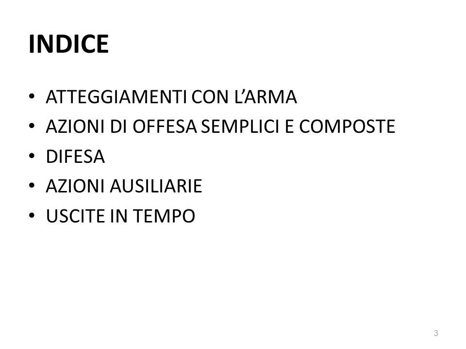 INDICE ATTEGGIAMENTI CON L'ARMA AZIONI DI OFFESA SEMPLICI E COMPOSTE DIFESA AZIONI AUSILIARIE USCITE IN TEMPO 3
