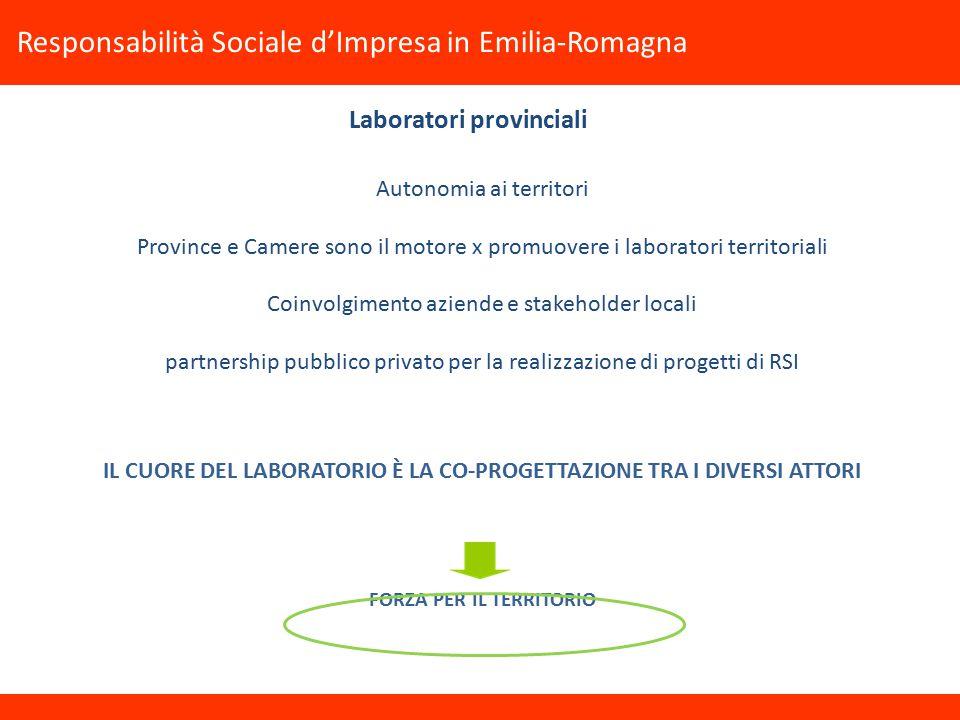 Autonomia ai territori Province e Camere sono il motore x promuovere i laboratori territoriali Coinvolgimento aziende e stakeholder locali partnership pubblico privato per la realizzazione di progetti di RSI IL CUORE DEL LABORATORIO È LA CO-PROGETTAZIONE TRA I DIVERSI ATTORI FORZA PER IL TERRITORIO Responsabilità Sociale d'Impresa in Emilia-Romagna Laboratori provinciali