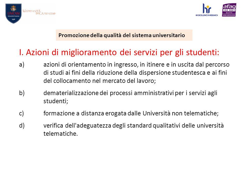 Promozione della qualità del sistema universitario I.