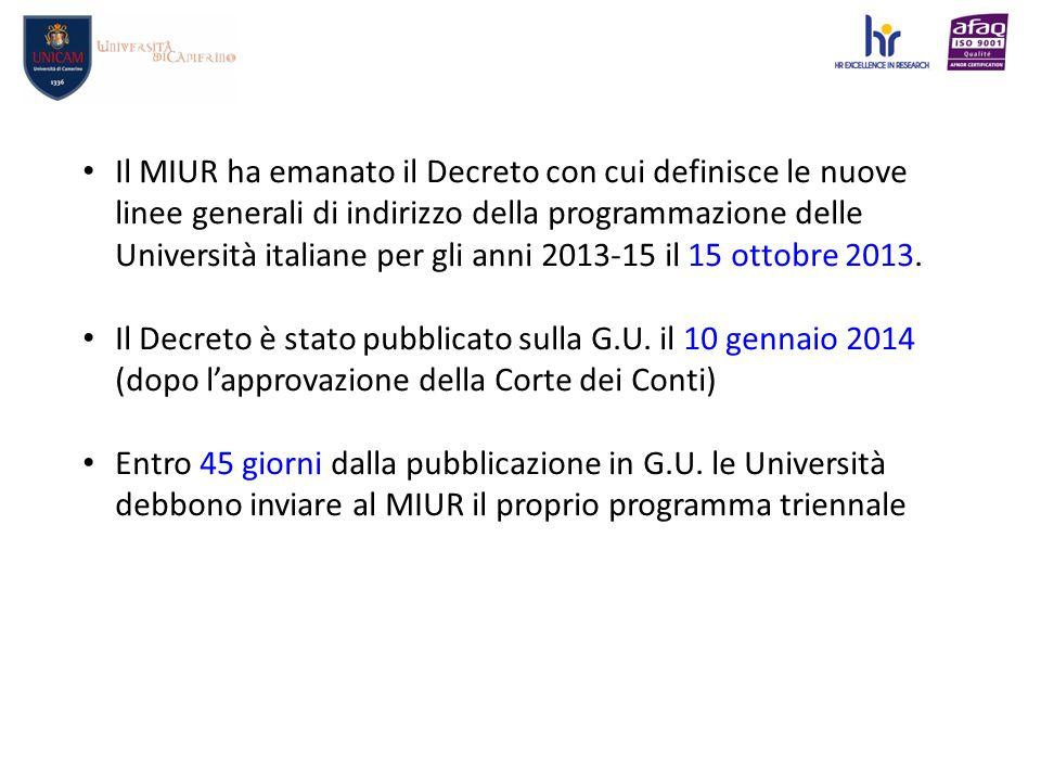 Il MIUR ha emanato il Decreto con cui definisce le nuove linee generali di indirizzo della programmazione delle Università italiane per gli anni 2013-15 il 15 ottobre 2013.