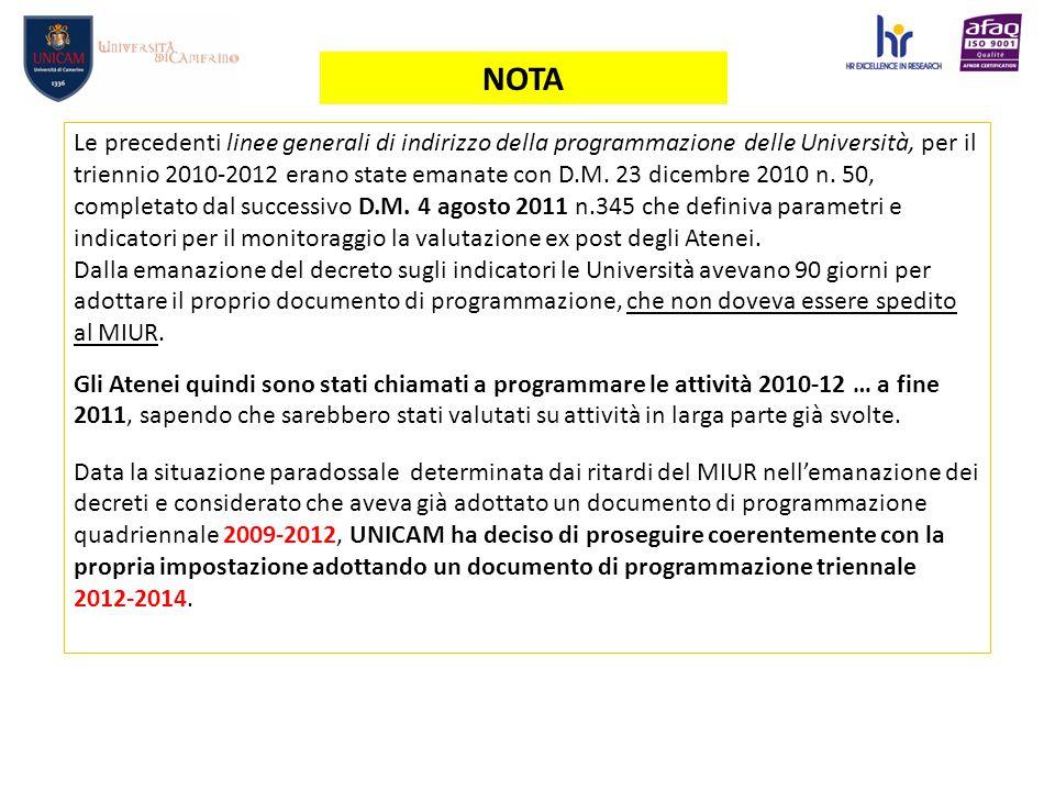 NOTA Le precedenti linee generali di indirizzo della programmazione delle Università, per il triennio 2010-2012 erano state emanate con D.M.