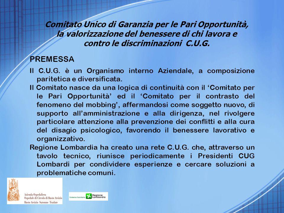 PREMESSA Il C.U.G. è un Organismo interno Aziendale, a composizione paritetica e diversificata. Il Comitato nasce da una logica di continuità con il '
