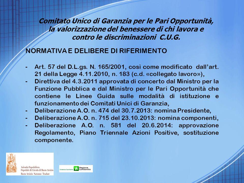 NORMATIVA E DELIBERE DI RIFERIMENTO -Art. 57 del D.L.gs. N. 165/2001, così come modificato dall'art. 21 della Legge 4.11.2010, n. 183 (c.d. «collegato