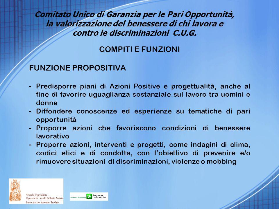 COMPITI E FUNZIONI FUNZIONE PROPOSITIVA -Predisporre piani di Azioni Positive e progettualità, anche al fine di favorire uguaglianza sostanziale sul l