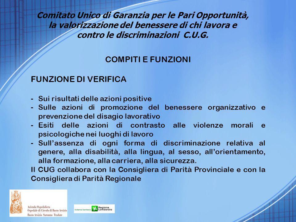 COMPITI E FUNZIONI FUNZIONE DI VERIFICA -Sui risultati delle azioni positive -Sulle azioni di promozione del benessere organizzativo e prevenzione del