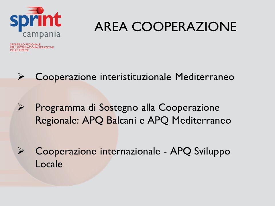 AREA COOPERAZIONE  Cooperazione interistituzionale Mediterraneo  Programma di Sostegno alla Cooperazione Regionale: APQ Balcani e APQ Mediterraneo 