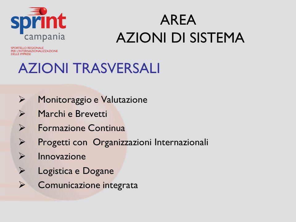 AREA AZIONI DI SISTEMA AZIONI TRASVERSALI  Monitoraggio e Valutazione  Marchi e Brevetti  Formazione Continua  Progetti con Organizzazioni Interna