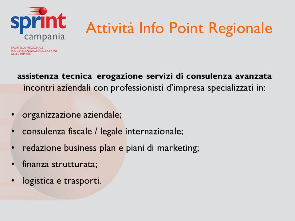 Attività Info Point Regionale assistenza tecnica erogazione servizi di consulenza avanzata incontri aziendali con professionisti d'impresa specializza
