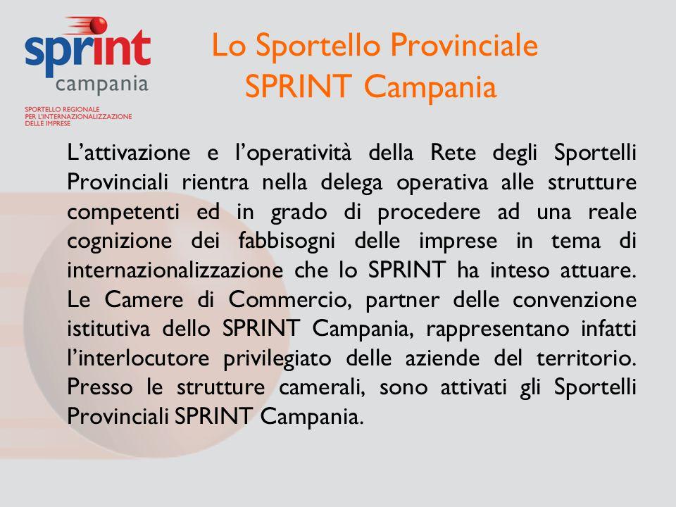Lo Sportello Provinciale SPRINT Campania L'attivazione e l'operatività della Rete degli Sportelli Provinciali rientra nella delega operativa alle stru