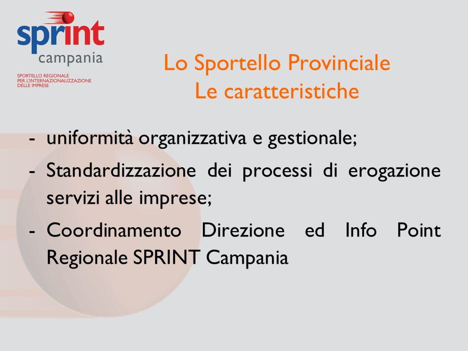 Lo Sportello Provinciale Le caratteristiche -uniformità organizzativa e gestionale; -Standardizzazione dei processi di erogazione servizi alle imprese