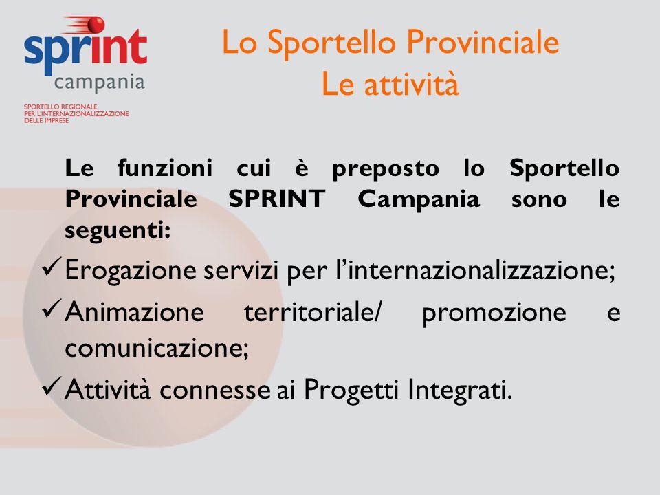 Lo Sportello Provinciale Le attività Le funzioni cui è preposto lo Sportello Provinciale SPRINT Campania sono le seguenti: Erogazione servizi per l'in