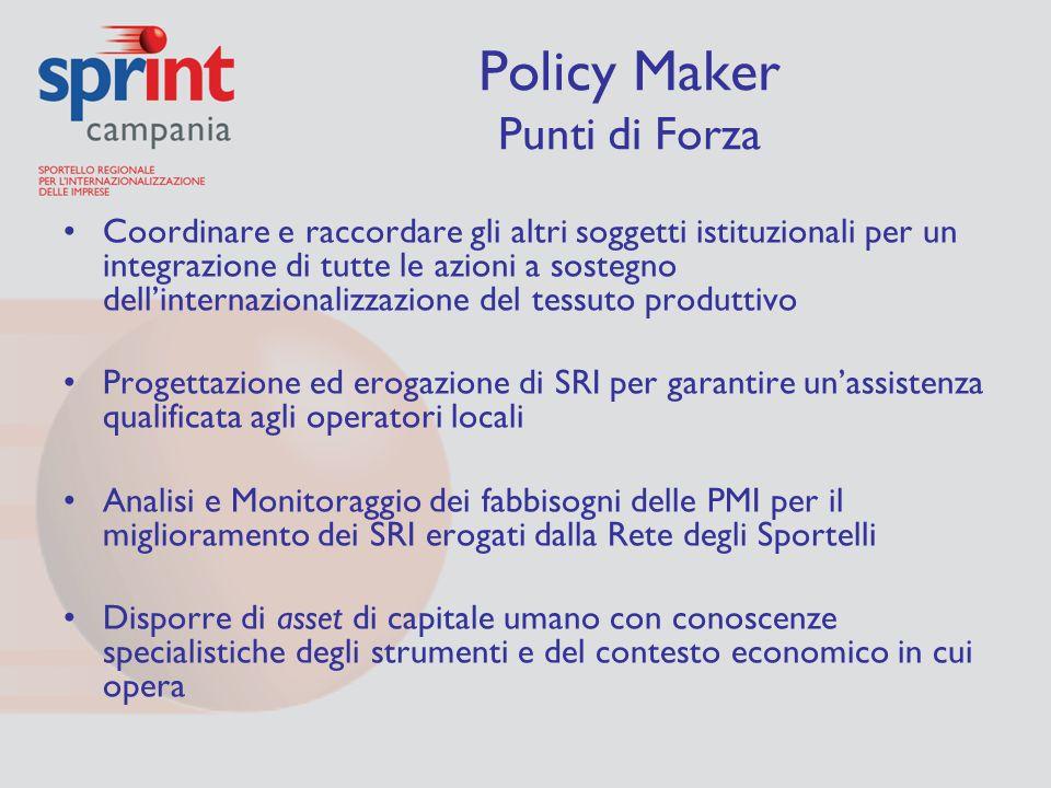 Policy Maker Punti di Forza Coordinare e raccordare gli altri soggetti istituzionali per un integrazione di tutte le azioni a sostegno dell'internazio