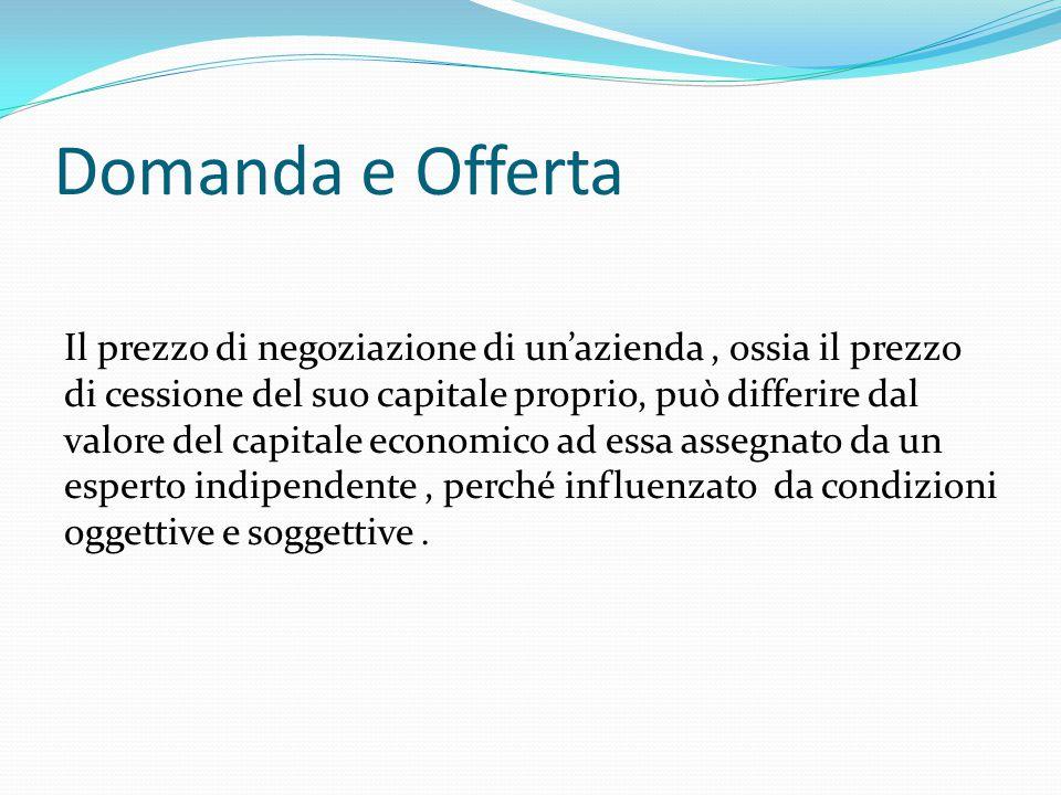 Domanda e Offerta Il prezzo di negoziazione di un'azienda, ossia il prezzo di cessione del suo capitale proprio, può differire dal valore del capitale economico ad essa assegnato da un esperto indipendente, perché influenzato da condizioni oggettive e soggettive.