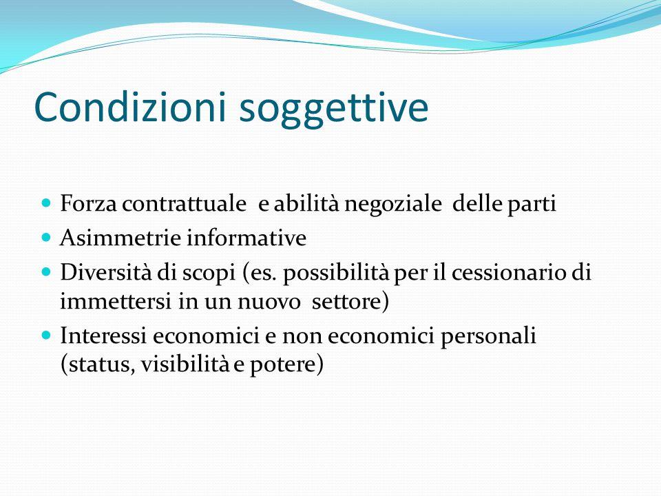 Condizioni soggettive Forza contrattuale e abilità negoziale delle parti Asimmetrie informative Diversità di scopi (es.