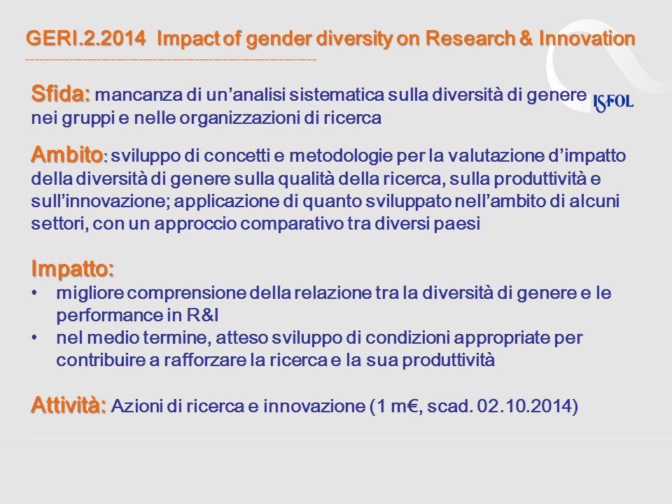GERI.2.2014 Impact of gender diversity on Research & Innovation GERI.2.2014 Impact of gender diversity on Research & Innovation ______________________