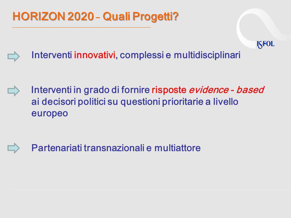 HORIZON 2020 Quali Progetti? HORIZON 2020 – Quali Progetti? ______________________________________________________________ Interventi innovativi, comp