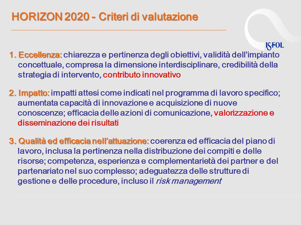 HORIZON 2020 - Criteri di valutazione HORIZON 2020 - Criteri di valutazione ________________________________________________________________ 1. Eccell