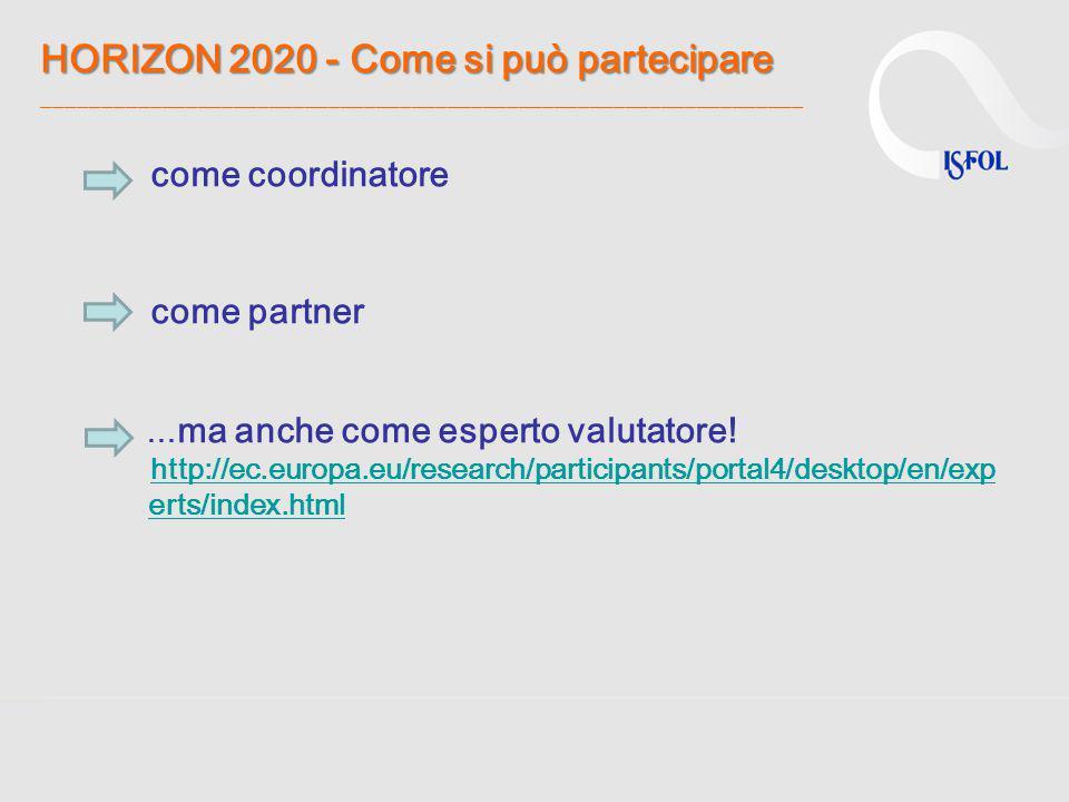 HORIZON 2020 - Come si può partecipare HORIZON 2020 - Come si può partecipare ________________________________________________________________ come co
