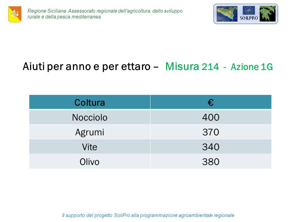 Il supporto del progetto SoilPro alla programmazione agroambientale regionale Aiuti per anno e per ettaro – Misura 214 - Azione 1G Coltura€ Nocciolo400 Agrumi370 Vite340 Olivo380 Regione Siciliana Assessorato regionale dell agricoltura, dello sviluppo rurale e della pesca mediterranea