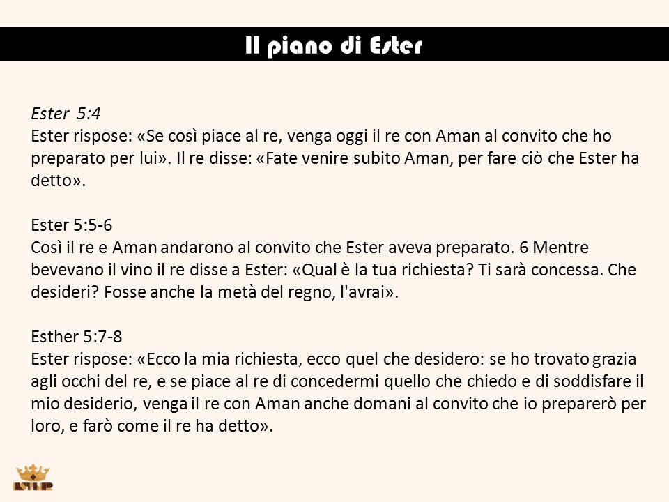 Il piano di Ester Ester 5:4 Ester rispose: «Se così piace al re, venga oggi il re con Aman al convito che ho preparato per lui».