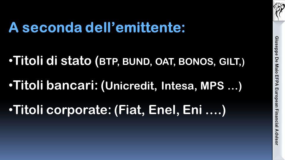 Obbligazioni strutturate: il tasso di interesse è legato al verificarsi di particolari eventi legati spesso a indici di borsa o singoli titoli azionari.