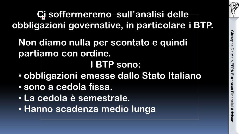 A seconda dell'emittente: Titoli di stato ( BTP, BUND, OAT, BONOS, GILT,) Titoli bancari: ( Unicredit, Intesa, MPS …) Titoli corporate: (Fiat, Enel, E