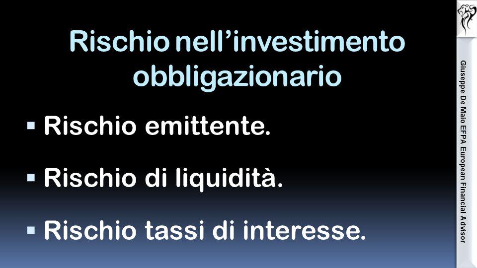 Anche l'investimento obbligazionario a tasso fisso ha i suoi rischi!!!.