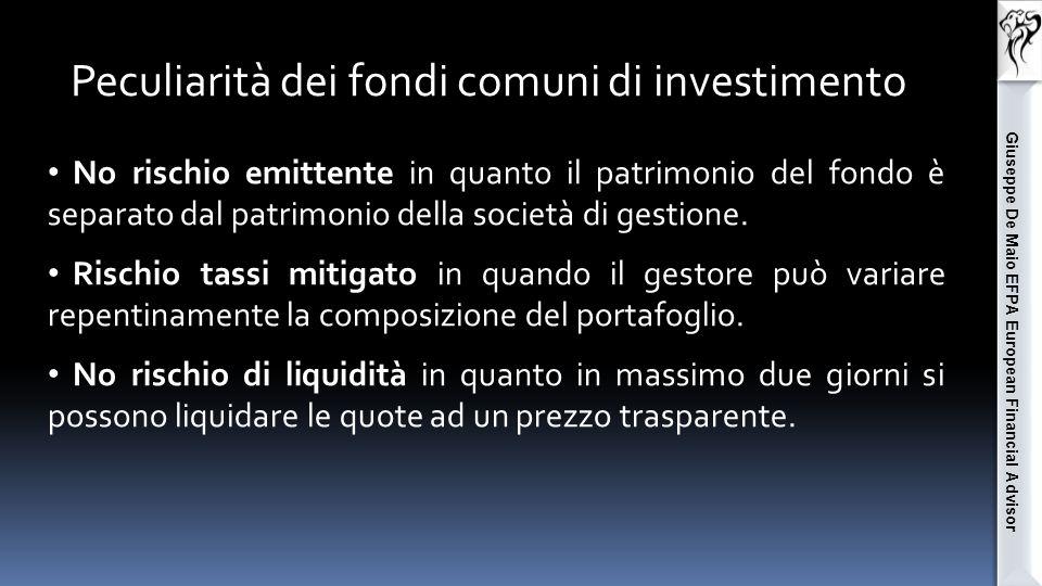 Giuseppe De Maio EFPA European Financial Advisor Tutti questi rischi vengo assolu- tamente mitigati in presenza di una elevata diversificazione di portafo- glio, cosa che un fondo comune di investimento è in grado di garantire.