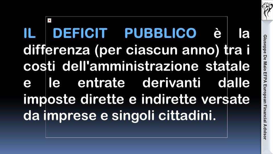 Giuseppe De Maio EFPA European Financial Advisor IL DEFICIT PUBBLICO è la differenza (per ciascun anno) tra i costi dell amministrazione statale e le entrate derivanti dalle imposte dirette e indirette versate da imprese e singoli cittadini.
