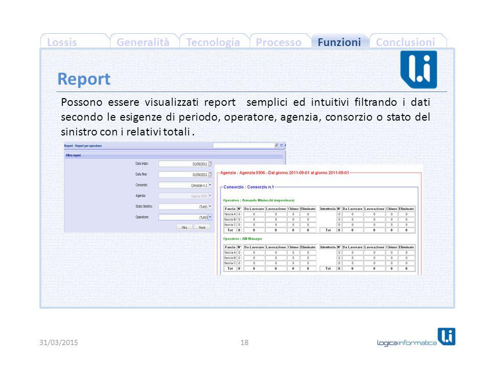 ConclusioniProcessoGeneralitàLossisTecnologia 31/03/201518 Report Funzioni Possono essere visualizzati report semplici ed intuitivi filtrando i dati secondo le esigenze di periodo, operatore, agenzia, consorzio o stato del sinistro con i relativi totali.