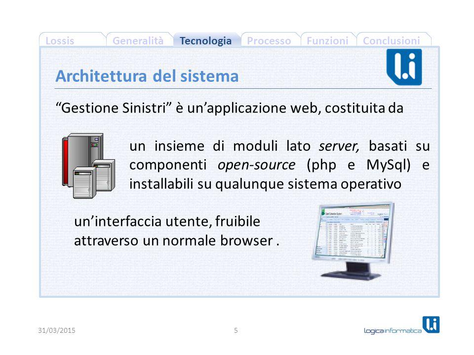 ConclusioniProcessoFunzioniLossisGeneralità Gestione Sinistri è un'applicazione web, costituita da un insieme di moduli lato server, basati su componenti open-source (php e MySql) e installabili su qualunque sistema operativo un'interfaccia utente, fruibile attraverso un normale browser.