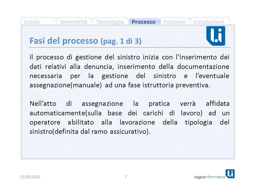 ConclusioniFunzioniGeneralitàLossisTecnologia Il processo di gestione del sinistro inizia con l'inserimento dei dati relativi alla denuncia, inserimen