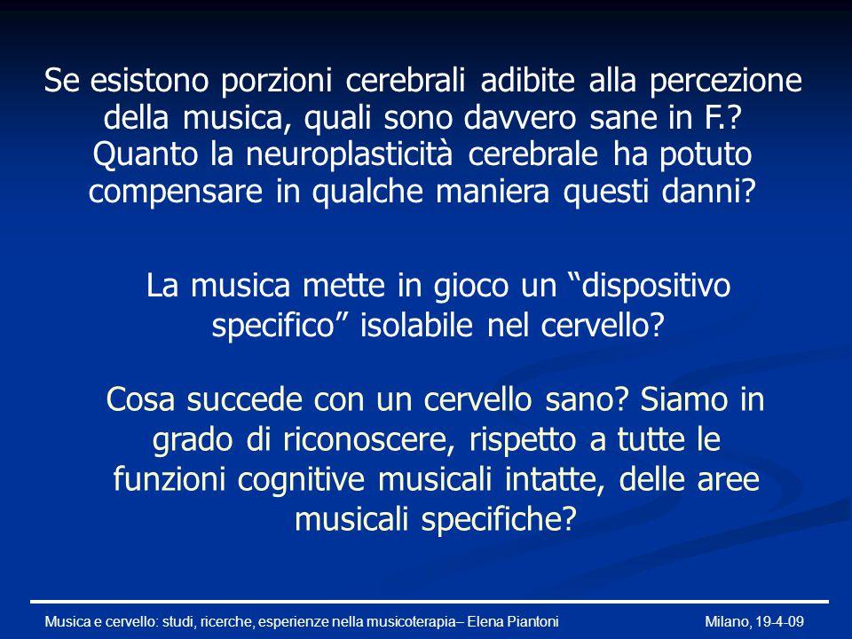Musica e cervello: studi, ricerche, esperienze nella musicoterapia– Elena PiantoniMilano, 19-4-09 Accompagnare il canto con uno strumento: Accompagnare il canto con uno strumento: i circuiti frontali per la pianificazione del mio comportamento, la corteccia motoria nella parte posteriore del lobo frontale e la corteccia sensoriale che fornisce il feedback tattile Lettura musica: la corteccia visiva situata nel lobo occipitale legata ad un'attivazione temporale Aree cerebrali coinvolte nelle attività musicali Seguire musica familiare: Seguire musica familiare: regioni del cervello compreso l'ippocampo e sottosezioni del lobo frontale