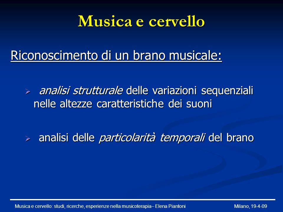 Musica e cervello ANALISI STRUTTURALE   è un'organizzazione melodica, caratterizzata da tre tipi di trasformazione: identificazione del profilo identificazione degli intervalli identificazione della tonalità Musica e cervello: studi, ricerche, esperienze nella musicoterapia– Elena PiantoniMilano, 19-4-09