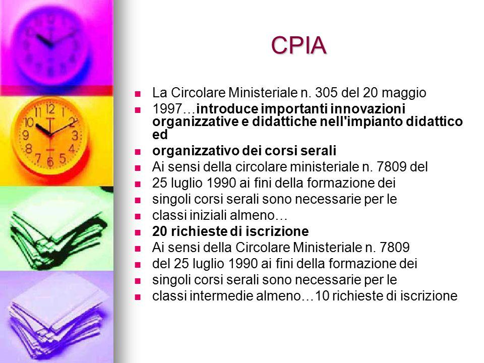 CPIA La Circolare Ministeriale n. 305 del 20 maggio 1997…introduce importanti innovazioni organizzative e didattiche nell'impianto didattico ed organi