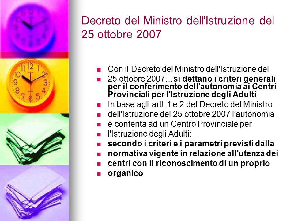 Decreto del Ministro dell'Istruzione del 25 ottobre 2007 Con il Decreto del Ministro dell'Istruzione del 25 ottobre 2007…si dettano i criteri generali