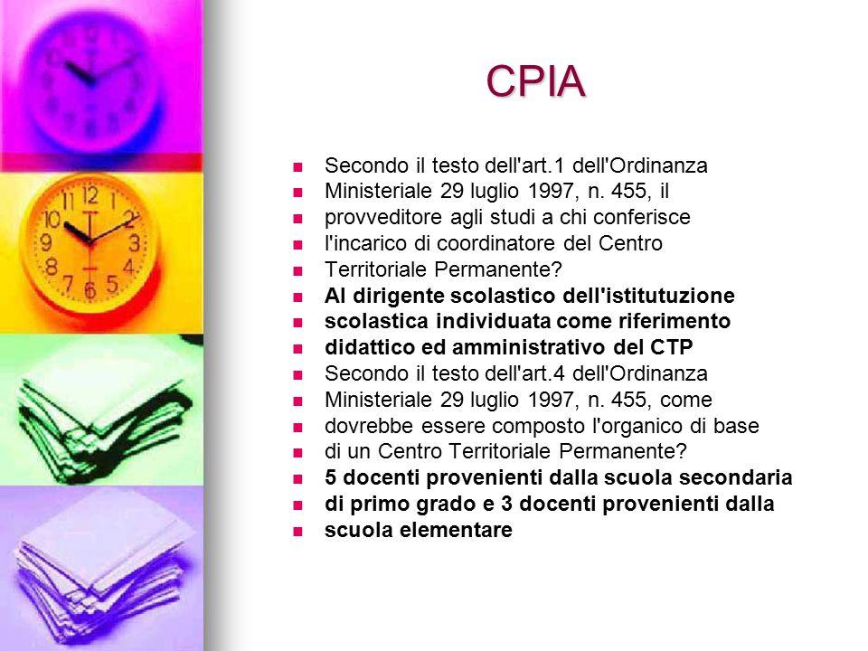 CPIA Secondo il testo dell'art.1 dell'Ordinanza Ministeriale 29 luglio 1997, n. 455, il provveditore agli studi a chi conferisce l'incarico di coordin