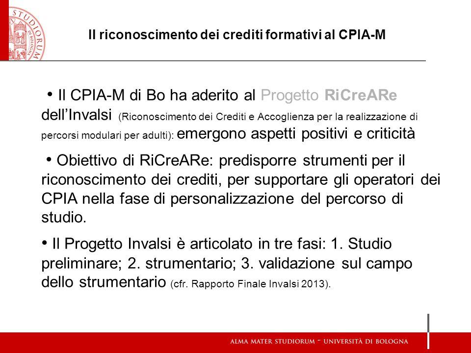 Il riconoscimento dei crediti formativi al CPIA-M Il CPIA-M di Bo ha aderito al Progetto RiCreARe dell'Invalsi (Riconoscimento dei Crediti e Accoglien