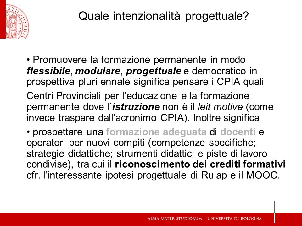 Quale intenzionalità progettuale? Promuovere la formazione permanente in modo flessibile, modulare, progettuale e democratico in prospettiva pluri enn