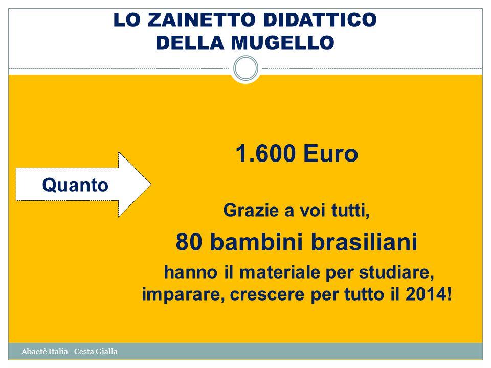 LO ZAINETTO DIDATTICO DELLA MUGELLO Abaetè Italia - Cesta Gialla 1.600 Euro Grazie a voi tutti, 80 bambini brasiliani hanno il materiale per studiare, imparare, crescere per tutto il 2014.