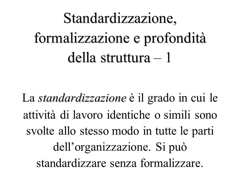 Standardizzazione, formalizzazionee profondità della struttura standardizzazione Standardizzazione, formalizzazione e profondità della struttura – 1 La standardizzazione è il grado in cui le attività di lavoro identiche o simili sono svolte allo stesso modo in tutte le parti dell'organizzazione.