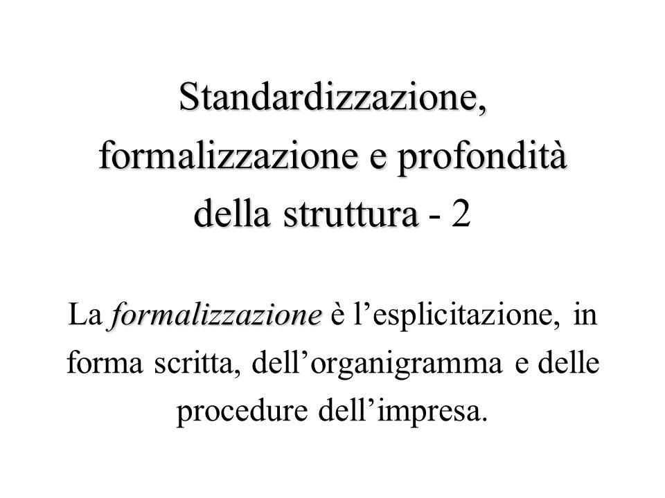 Standardizzazione, formalizzazionee profondità della struttura formalizzazione Standardizzazione, formalizzazione e profondità della struttura - 2 La formalizzazione è l'esplicitazione, in forma scritta, dell'organigramma e delle procedure dell'impresa.