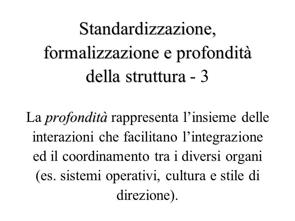 Standardizzazione, formalizzazionee profondità della struttura profondità Standardizzazione, formalizzazione e profondità della struttura - 3 La profondità rappresenta l'insieme delle interazioni che facilitano l'integrazione ed il coordinamento tra i diversi organi (es.