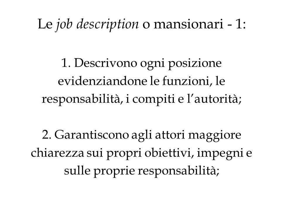 Le job description o mansionari - 1: 1.